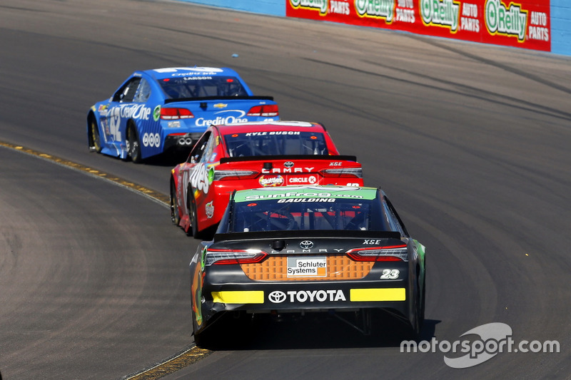 Gray Gaulding, BK Racing, Toyota; Kyle Busch, Joe Gibbs Racing, Toyota; Kyle Larson, Chip Ganassi Racing, Chevrolet