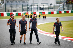 Kevin Magnussen, Haas F1 Team, walks the track with his team