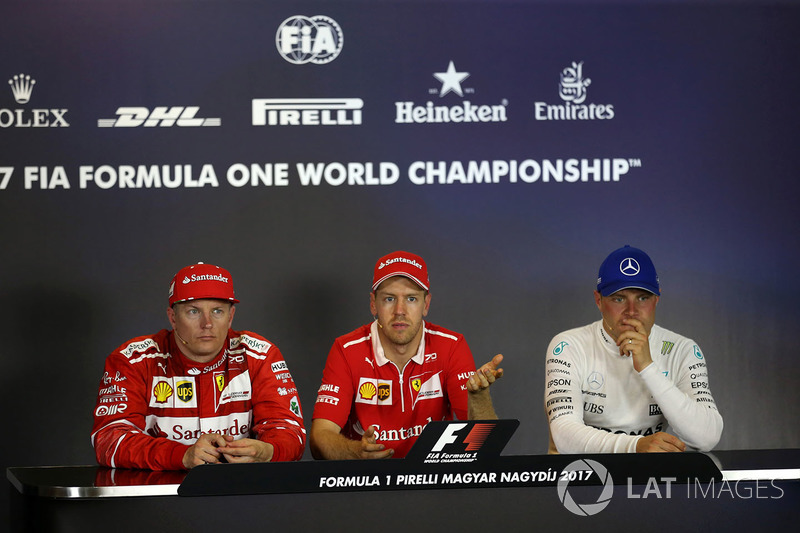 Press conference: race winner Sebastian Vettel, Ferrari, second place Kimi Raikkonen, Ferrari, third place Valtteri Bottas, Mercedes AMG F1