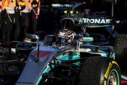 Valtteri Bottas, Mercedes AMG F1 W08, 3rd Position, arrives in Parc Ferme