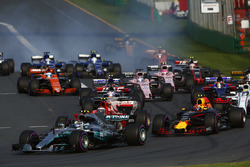 Valtteri Bottas, Mercedes AMG F1, W08; Max Verstappen, Red Bull Racing, RB13; Kimi Räikkönen, Ferrari, SF70H; Felipe Massa, Williams, FW40