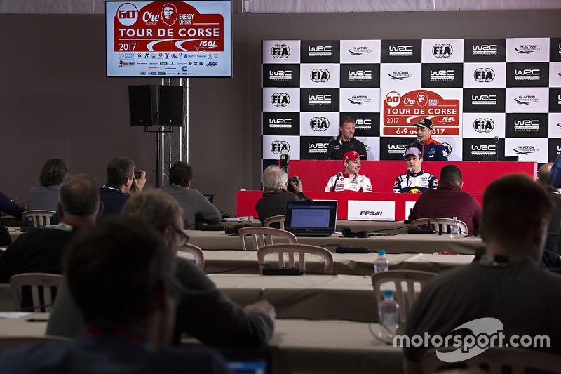 Hayden Paddon, Hyundai Motorsport; Stéphane Lefebvre, Citroën World Rally Team; Sébastien Ogier, M-Sport