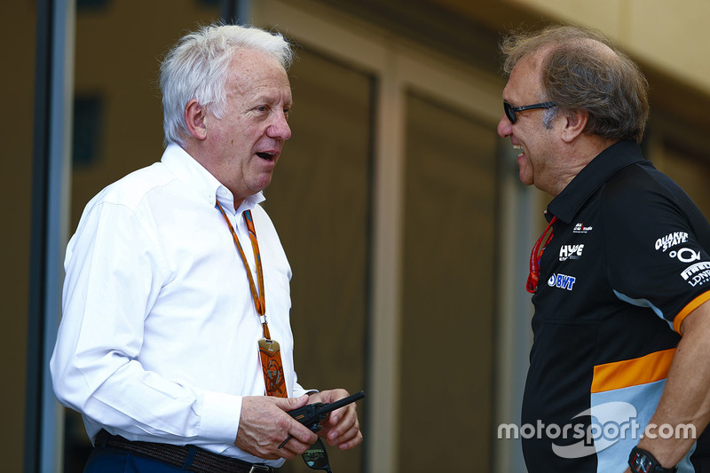 Charlie Whiting, Race Director, FIA, with Bob Fernley, Deputy Team Principal, Force India