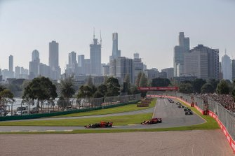 Max Verstappen, Red Bull Racing RB15, leads Charles Leclerc, Ferrari SF90, Kevin Magnussen, Haas F1 Team VF-19, Romain Grosjean, Haas F1 Team VF-19, and Nico Hulkenberg, Renault F1 Team R.S. 19