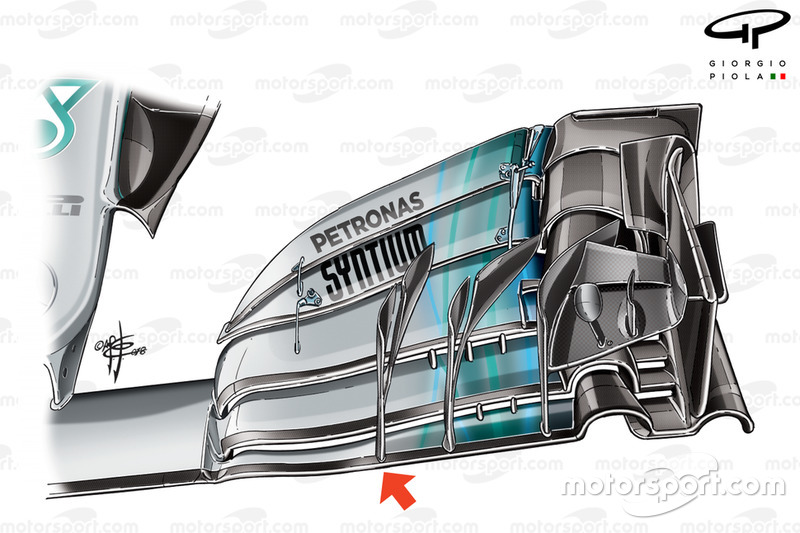 Alerón delantero del Mercedes W09