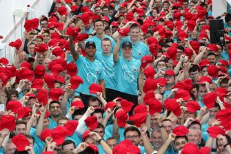 Lewis Hamilton, Toto Wolff, Valtteri Bottas, Mercedes AMG F1 World Championship celebration