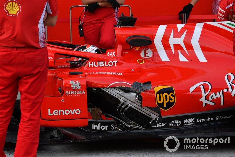 Charles Leclerc, Ferrari SF71H avec un morceau manquant sur la carrosserie
