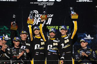 Podium GT AM: winners #56 Team Project 1 Porsche 911 RSR: Jorg Bergmeister, Patrick Lindsey, Egidio Perfetti