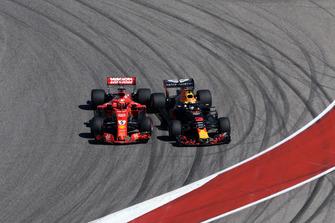 Sebastian Vettel, Ferrari SF71H and Daniel Ricciardo, Red Bull Racing RB14 clash on lap one