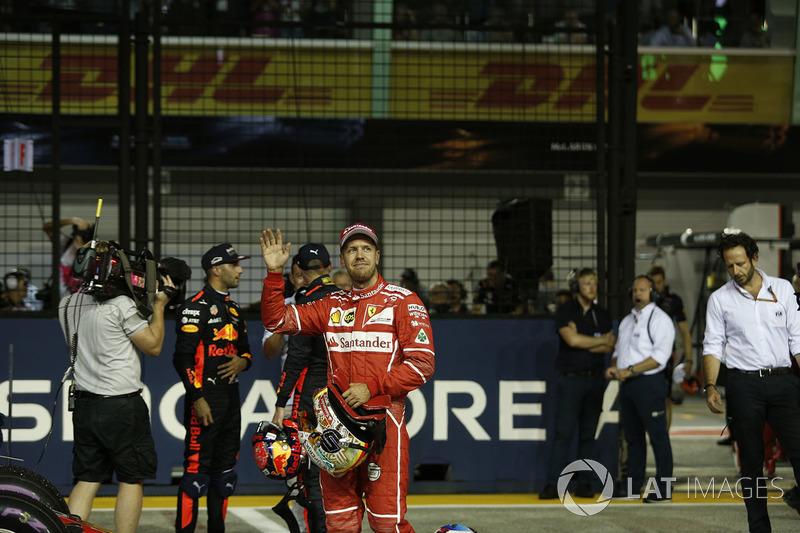 Pole sitter Sebastian Vettel, Ferrari celebrates in parc ferme