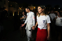 Jenson Button, McLaren retired from the race, with his girlfriend Brittny Ward
