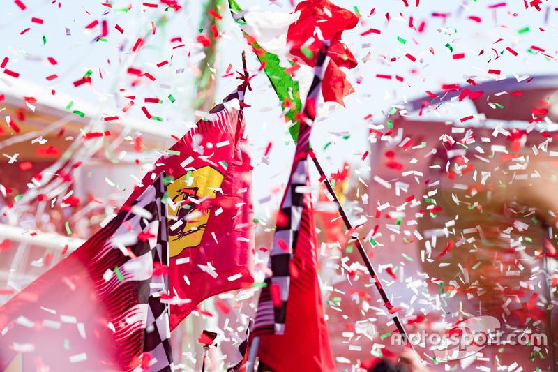 Ferrari flags at the podium celebrations
