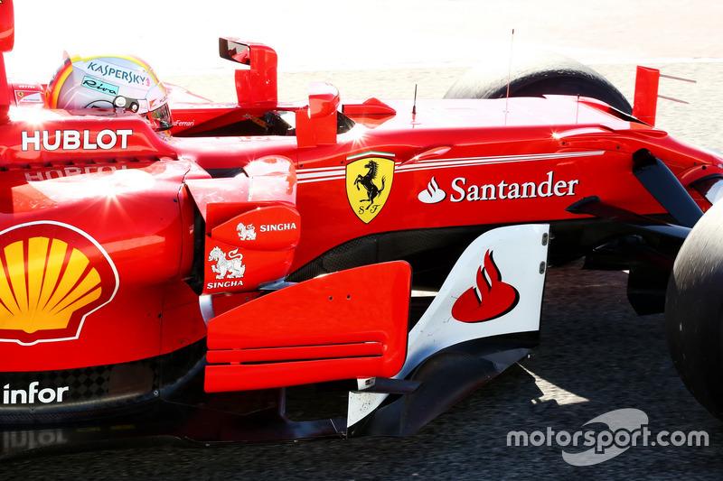 Sebastian Vettel, Ferrari SF70H barge board y detalle del sidepod