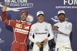 Polesitter Valtteri Bottas, Mercedes AMG F1; 2. Lewis Hamilton, Mercedes AMG F1; 3. Sebastian Vettel, Ferrari