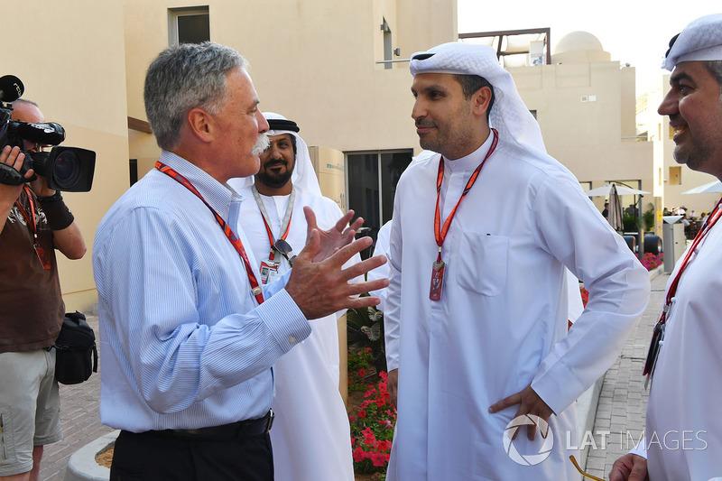 Chase Carey, Director Ejecutivo y Presidente Ejecutivo de Formula One Group y H. E. Khaldoon Al Muba