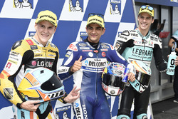 Pole sitter Jorge Martin, Del Conca Gresini Racing Moto3, second place Gabriel Rodrigo, RBA Racing Team, third place Joan Mir, Leopard Racing