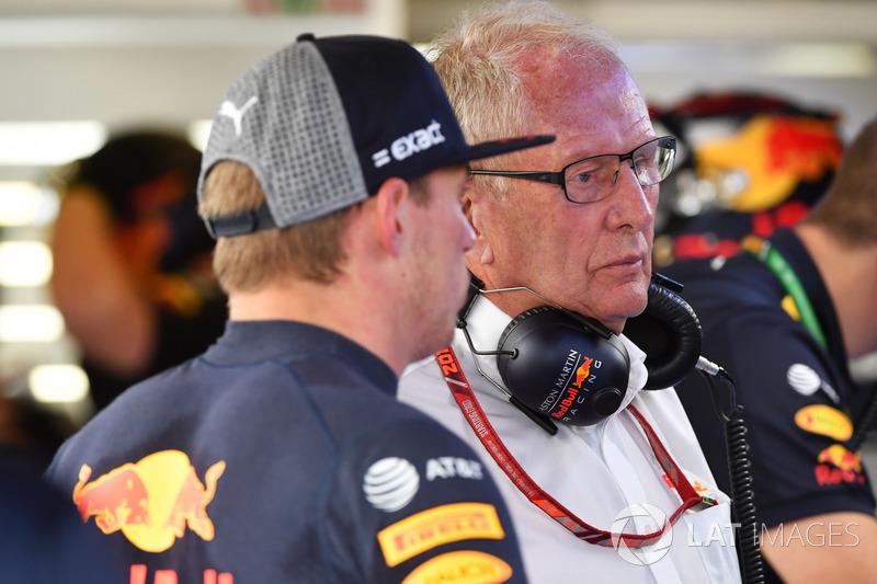 Max Verstappen, Red Bull Racing e il Dr Helmut Marko, Consulente Red Bull Motorsport
