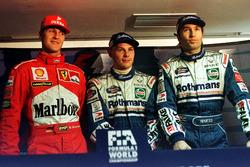 Jacques Villeneuve, Williams, Michael Schumacher, Ferrari, Heinz-Harald Frentzen, Williams all get exactly the same time