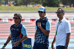 Lance Stroll, Williams walks the trackj with Luca Baldisserri, Williams Race Engineer