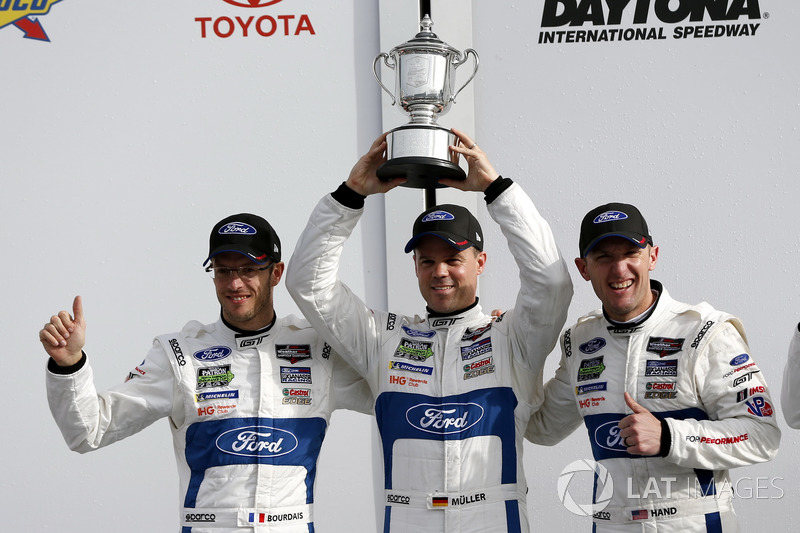 Victory lane, second place GTLM: #66 Ford Performance Chip Ganassi Racing Ford GT: Joey Hand, Dirk Müller, Sebastien Bourdais