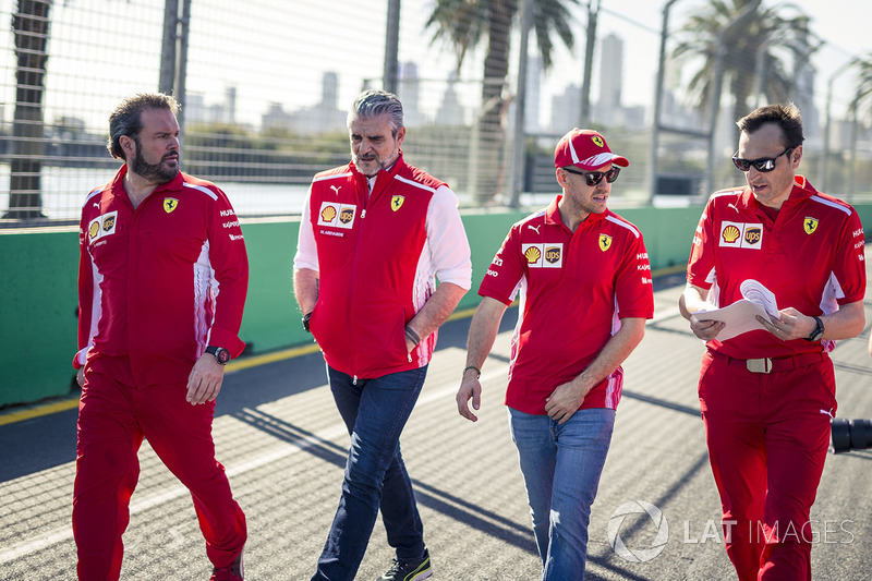 Sebastian Vettel, Ferrari walks the track with Maurizio Arrivabene, Ferrari Team Principal and Riccardo Adami, Ferrari Race Engineer