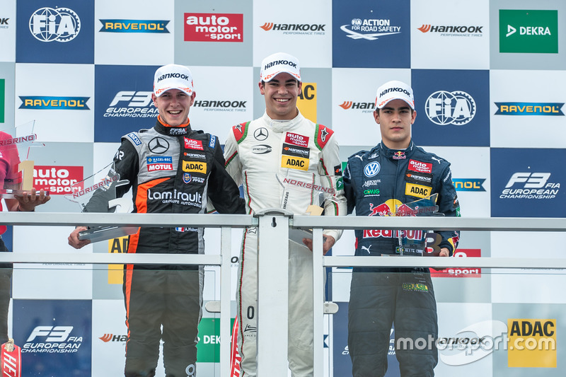 Podium: Anthoine Hubert, Van Amersfoort Racing Dallara F312 - Mercedes-Benz, Lance Stroll, Prema Powerteam Dallara F312 – Mercedes-Benz