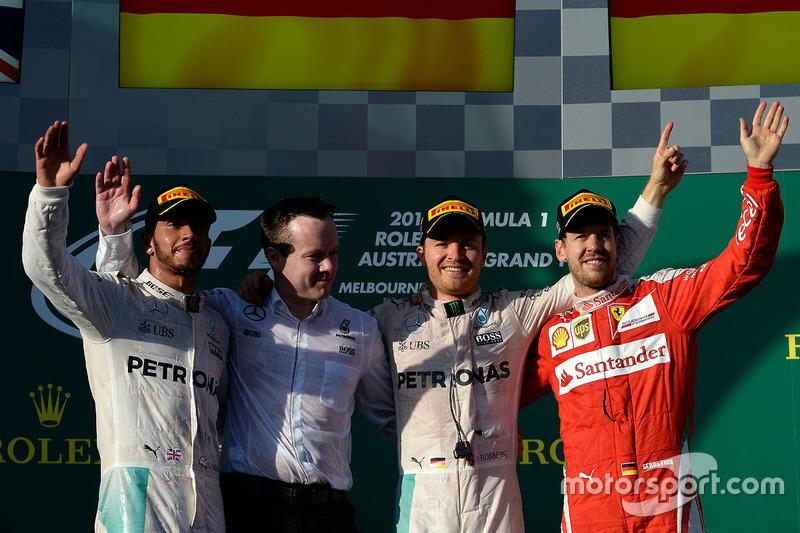2016: 1. Nico Rosberg, 2. Lewis Hamilton, 3. Sebastian Vettel