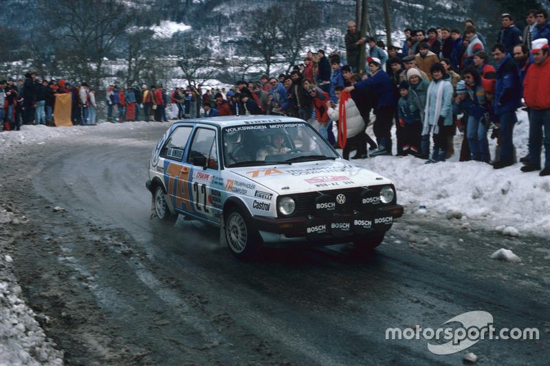 Kenneth Eriksson, Peter Diekmann, VW Golf, bei der Rallye Monte Carlo 1986