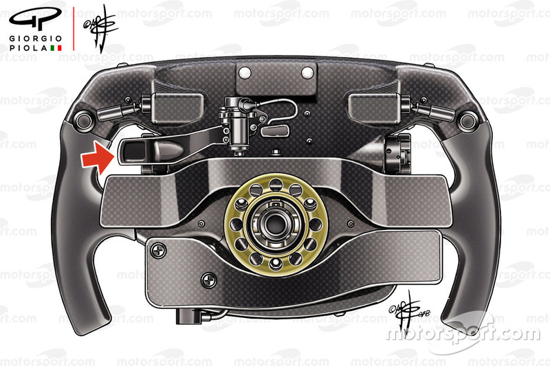 Sebastian Vettel, Ferrari SF71H steering wheel rear detail