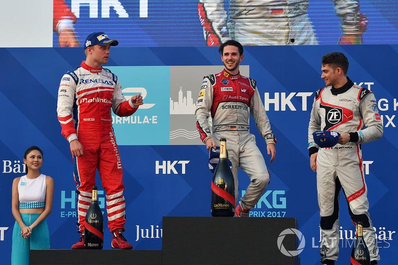 Podium: ganador, Daniel Abt, Audi Sport ABT Schaeffler, segundo, Felix Rosenqvist, Mahindra Racing, tercero, Edoardo Mortara, Venturi Formula E