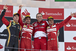 Podium: race winner Fernando Alonso, Ferrari, second place Kimi Raikkonen, Lotus F1 Team, third place Felipe Massa, Ferrari