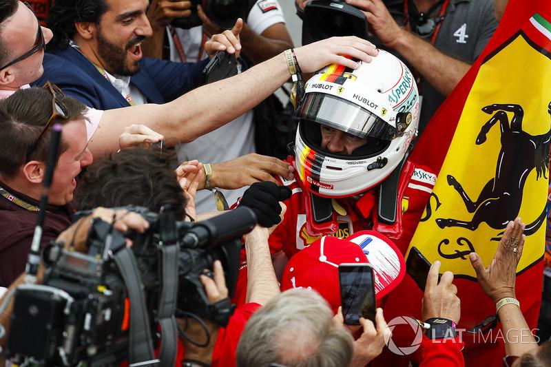 Sebastian Vettel, Ferrari, celebrates victory