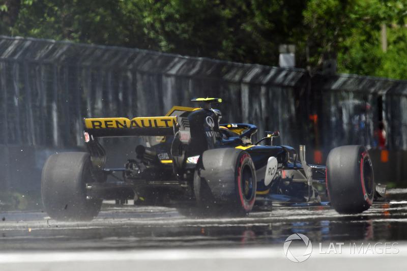 Carlos Sainz Jr., Renault Sport F1 Team R.S. 18, golpea el muro en los libres 2 de Canadá