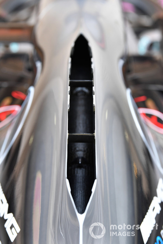 Mercedes will once again utilise the open spine, or chimney-style engine cover, to help evacuate heat generated by the powerunit.