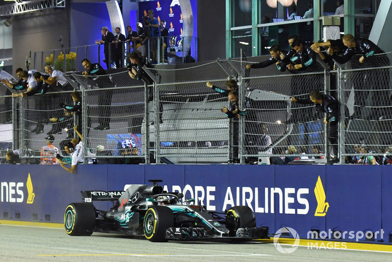 Hamilton and Mercedes celebrate win