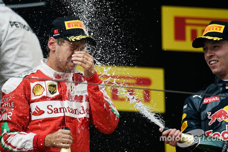 Podium: second place Sebastian Vettel, Ferrari and third place Daniil Kvyat, Red Bull Racing