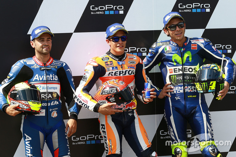 Polesitter Marc Marquez, Repsol Honda Team, second place Hector Barbera, Avintia Racing, third place Valentino Rossi, Yamaha Factory Racing