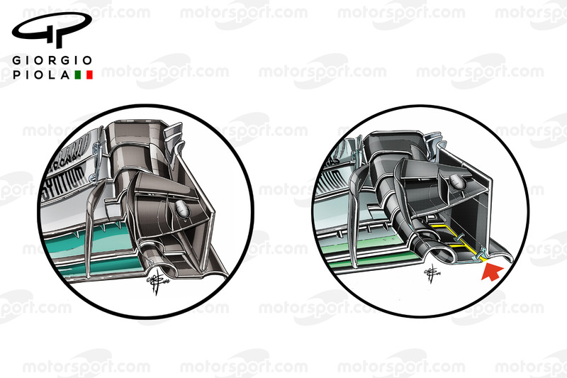 Mercedes W07 Canadian GP and Malaysian GP endplates comparison