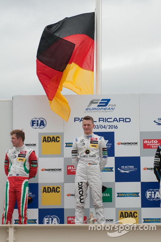 Podium, Maximilian Günther, Prema Powerteam Dallara F312 – Mercedes-Benz