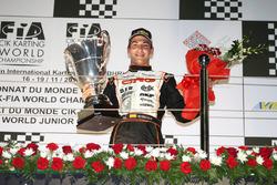 Pedro Hiltbrand, CRG, en el podio del CIK FIA World Championship