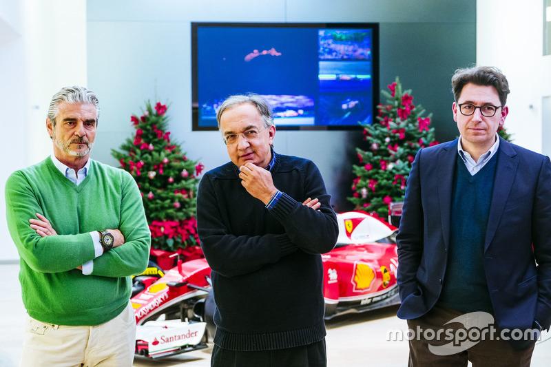 Maurizio Arrivabene, director del equipo Ferrari, Sergio Marchionne, Presidente y CEO de Ferrari Fiat Chrysler automóviles y Mattia Binotto Scuderia Ferrari Director técnico