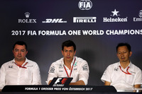 Eric Boullier, McLaren Racing Director, Toto Wolff, Mercedes AMG F1 Director of Motorsport, Yusuke Hasegawa, Head of Honda Motorsport