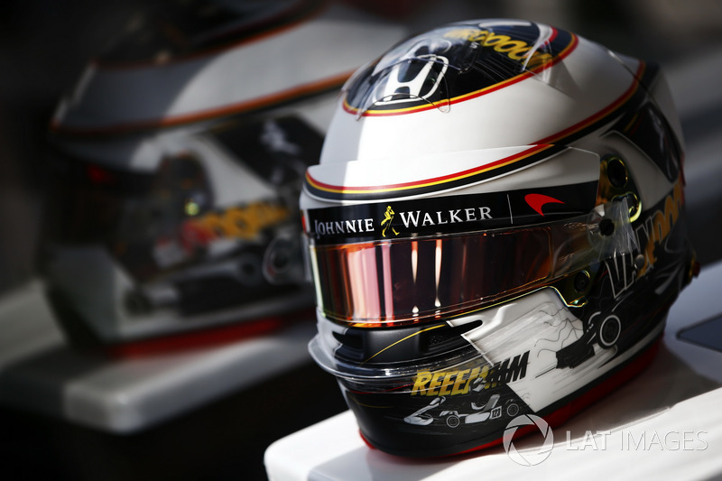Helmet detail of Stoffel Vandoorne, McLaren, showing a new design for his home grand prix