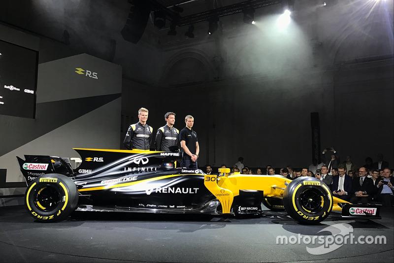 Hülkenberg, Palmer en Sirotkin poseren bij de RS17