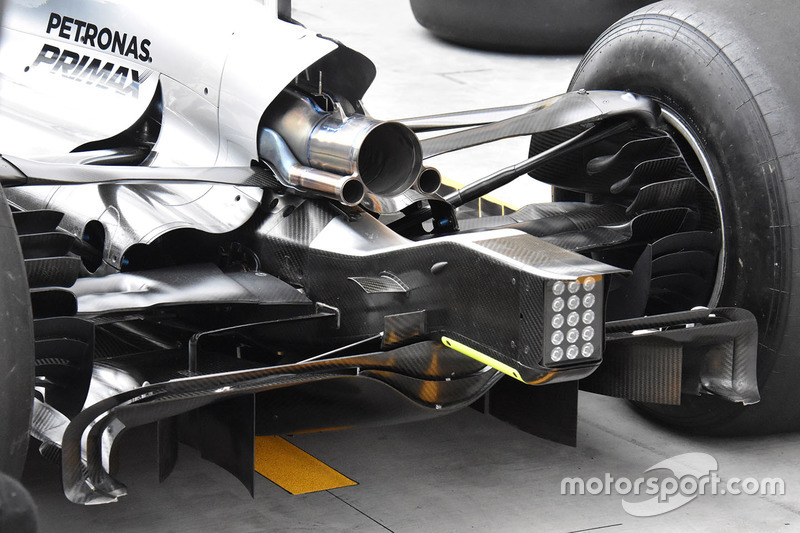 Mercedes AMG F1 W08 achterkant detail