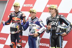 Top-drie na de kwalificatie Bo Bendsneyder, Red Bull KTM Ajo, Polesitter Jorge Martin, Del Conca Gresini Racing Moto3, Nicolo Bulega, Sky Racing Team VR46
