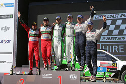 Podium WRC2: winners Esapekka Lappi, Janne Ferm, Skoda Fabia R5, second place Nicholas Fuchs, Fernando Mussano, third place Hubert Ptaszek, Maciek Szczepaniak