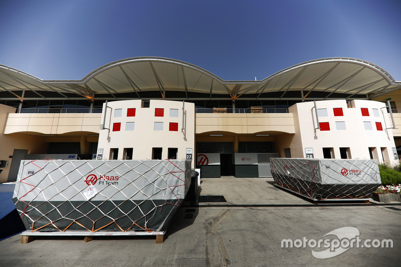 Haas F1 Team frieght in the paddock