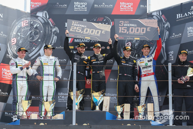 Podium: Race winner #84 Mercedes-AMG Team HTP Motorsport, Mercedes-AMG GT3: Maximilian Buhk, Franck Perera, second place #7 Bentley Team M-Sport, Bentley Continental GT3: Steven Kane, Vincent Abril, third place #86 Mercedes-AMG Team HTP Motorsport, Mercedes-AMG GT3: Dominik Baumann, Jimmy Eriksson