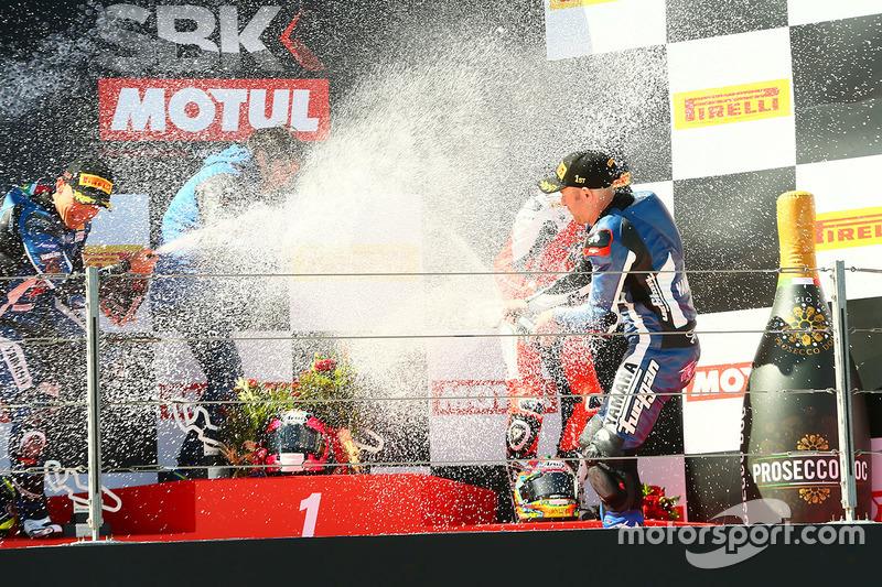 Podium: 1. Lucas Mahias, GRT Yamaha Official WorldSSP Team; 2. Sheridan Morais, Kallio Racing; 3. P.J. Jacobsen, MV Agusta